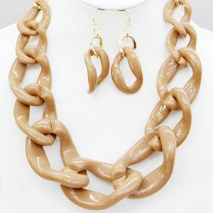 Caramel Gradual Linked Chunky Necklace Earring